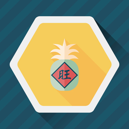 Chinese New Year flat icon with long shadow, when you send pineapple for your friends in Chinese New Year means you wish them will be wealthy this year.