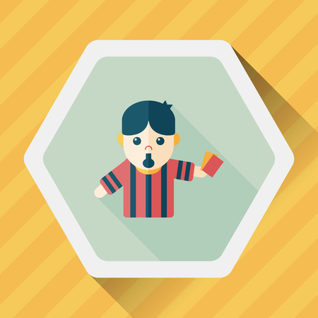penalty card: soccer referee flat icon with long shadow