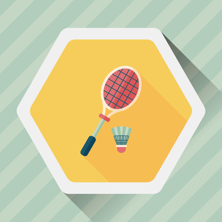 badminton racket: badminton racket and ball flat icon with long shadow