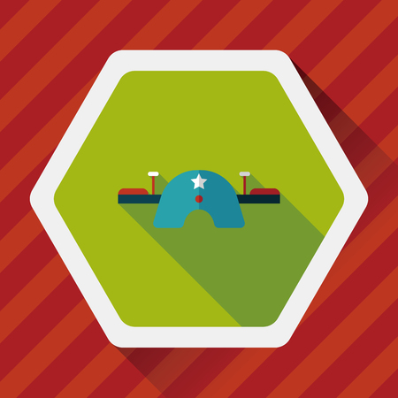 see saw: Playground Seesaw flat icon with long shadow