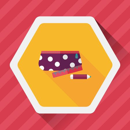 pencil box: pencil box flat icon with long shadow Illustration
