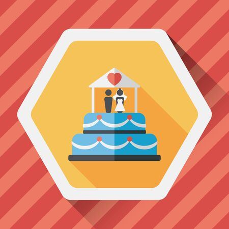 decoracion de pasteles: icono plana pastel de bodas con la sombra larga