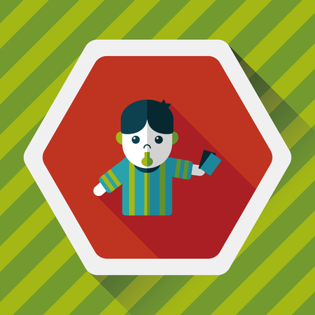 football judge: soccer referee flat icon with long shadow