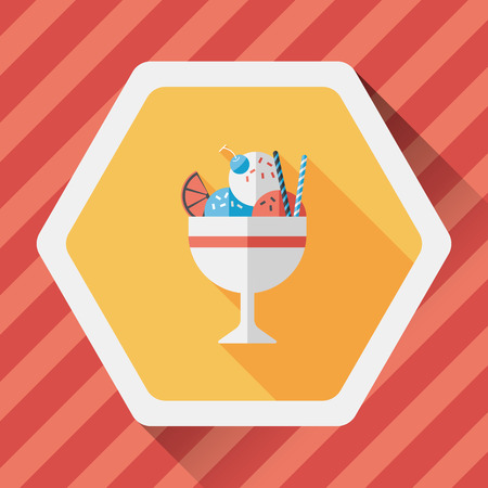 fudge: ice cream flat icon with long shadow