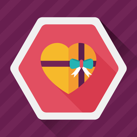 valentine day love beautiful: Valentines Day present flat icon with long shadow