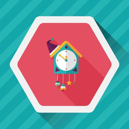 cuckoo clock: Cuckoo clock flat icon with long shadow Illustration