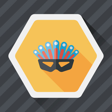costume ball: party mask flat icon with long shadow Illustration