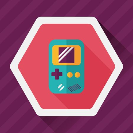 handheld: Handheld game flat icon with long shadow Illustration