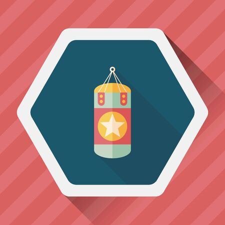 punching bags flat icon with long shadow