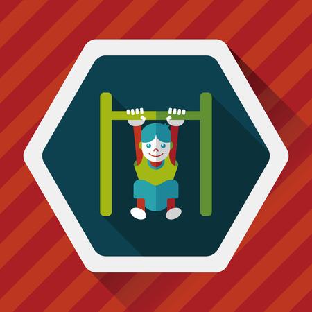 horizontal bar: Boy hanging horizontal bar flat icon with long shadow Illustration