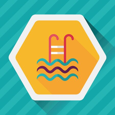 hand rail: swimming pool flat icon with long shadow Illustration