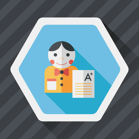 assignments: A plus grade in the notebook,flat icon with long shadow Illustration