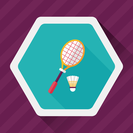 badminton: badminton racket and ball flat icon with long shadow