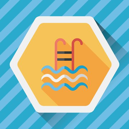 handrail: swimming pool flat icon with long shadow Illustration