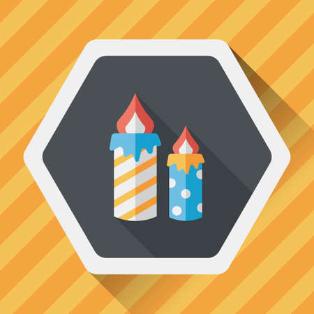 outdated: Candle flat icon with long shadow Illustration