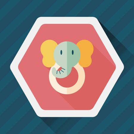 young relationship: elephant toy flat icon with long shadow