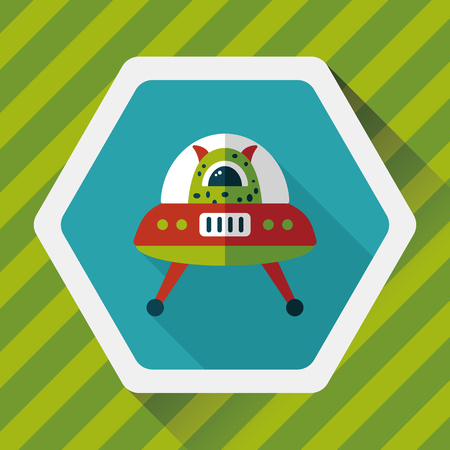invaders: Space flat icon with long shadow
