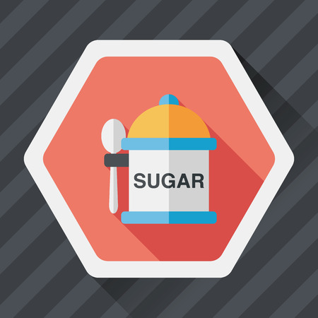 sugarcane: kitchenware sugar flat icon with long shadow