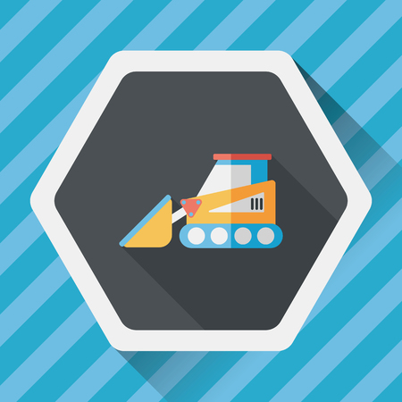 wheeled tractor: Transportation bulldozer flat icon with long shadow,eps10