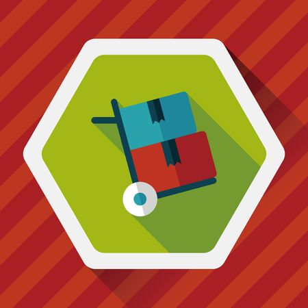 handling: shopping handling trolley flat icon with long shadow,eps10 Illustration