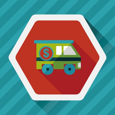 armored safes: Armored car flat icon with long shadow,eps10