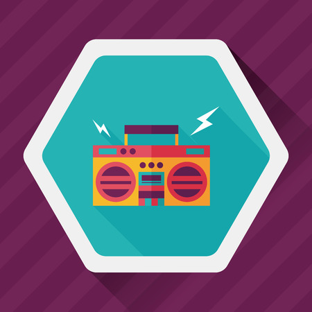 ghetto: ghetto blaster audio flat icon with long shadow,eps10