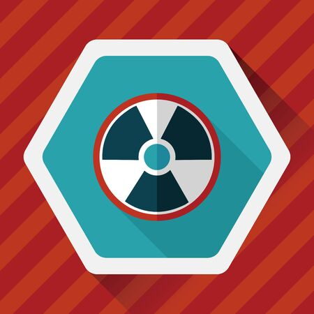 nuclear safety: Radiation flat icon with long shadow Illustration