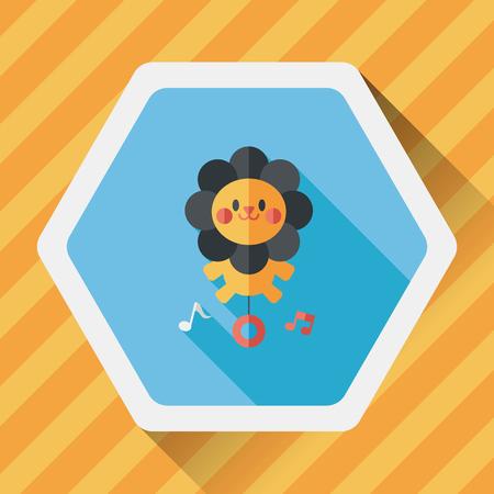 dessin enfants: lion jouet ic�ne plat avec ombre, eps10