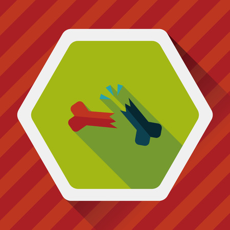 fractura: icono plana fractura �sea con una larga sombra Vectores