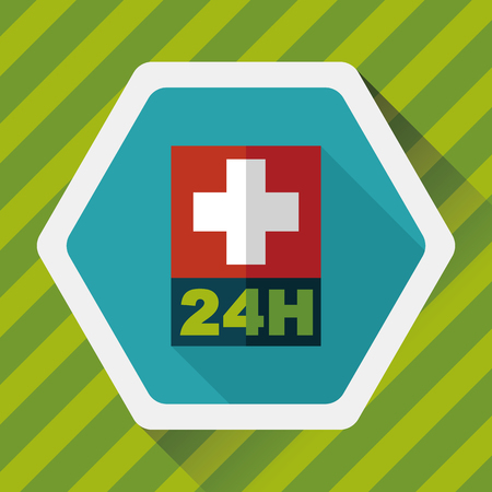 Hospitals 24 hours flat icon with long shadow 向量圖像