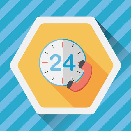 24 hours: 24 hours customer phone service flat icon with long shadow,eps10 Illustration