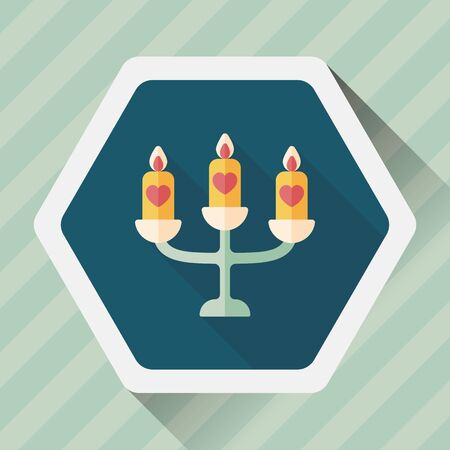 candle holder: wedding candle holder flat icon with long shadow,eps10 Illustration