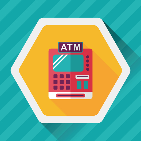 e cash: shopping cash register flat icon with long shadow,eps10