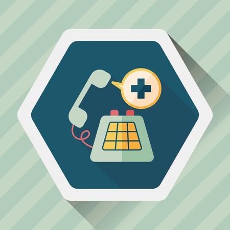 emergencia: llamada de emergencia icono plana con larga sombra Vectores