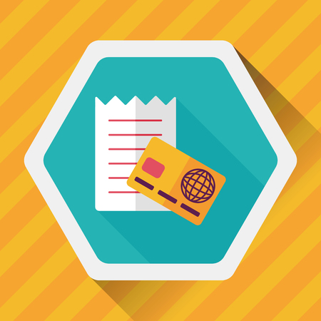 paying bills: shopping credit card bill flat icon with long shadow,eps10