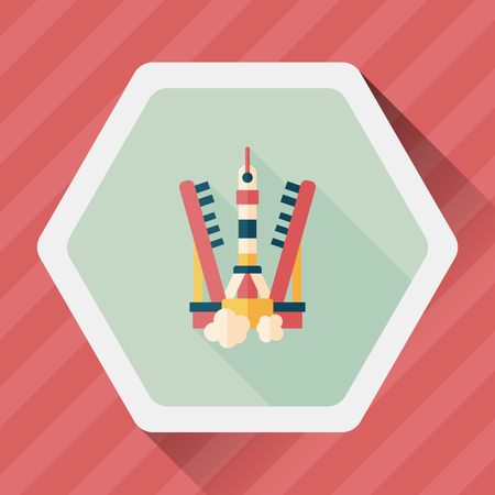 cartoon astronaut: Space rocket flat icon with long shadow,eps10