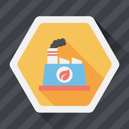 polluting: Environmental protection concept flat icon with long shadow,eps10; The factory do well on emission to not pollute the air and environment