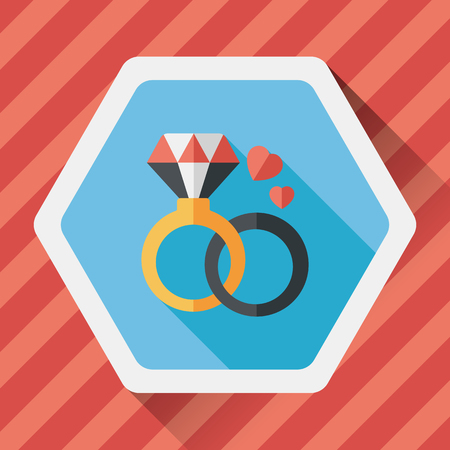 valentin's: Valentines Day diamond ring flat icon with long shadow,eps10