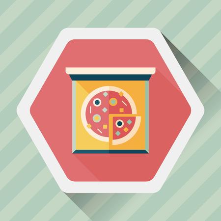 edible mushroom: Pizza flat icon with long shadow,eps10