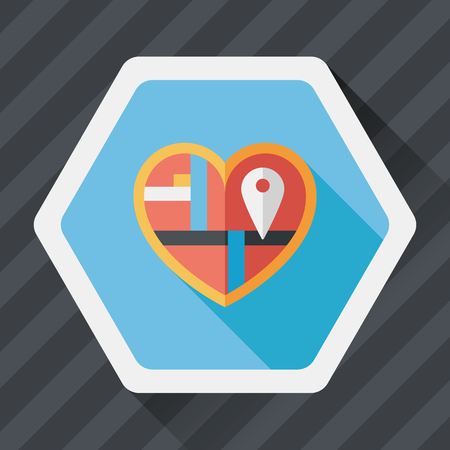 wedding heart: heart shaped wedding invitation flat icon with long shadow,eps10, wedding ceremony destination on invitation