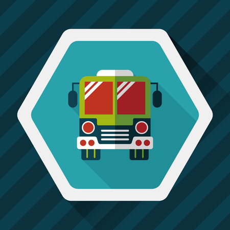school icon: Transportation bus flat icon with long shadow,eps10