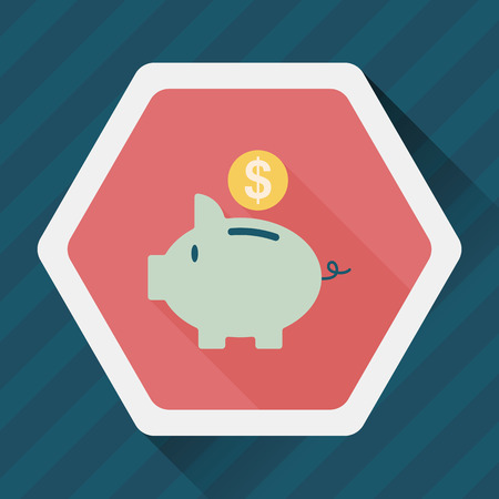 saving accounts: Piggy bank flat icon with long shadow,eps10 Illustration