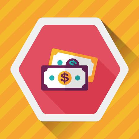 hundred dollar bill: shopping money cash flat icon with long shadow,eps10 Illustration