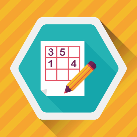 guess: Sudoku flat icon with long shadow,eps10