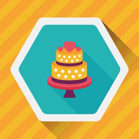 boda pastel: icono plana pastel de bodas con la sombra larga, eps10 Vectores