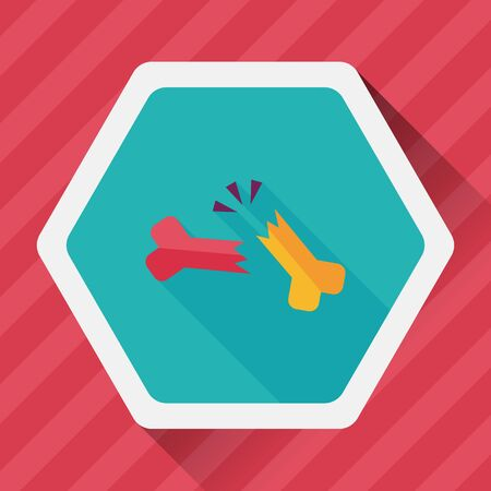 bone fracture flat icon with long shadow Иллюстрация