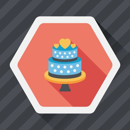 boda pastel: wedding cake flat icon with long shadow,eps10 Vectores