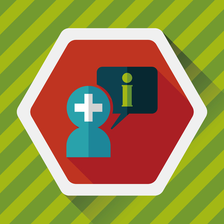 speech bubble hospital: medical speech flat icon with long shadow