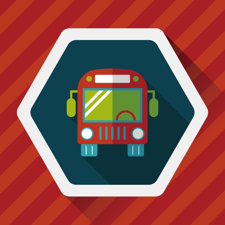 transporte escolar: Icono plana autob�s Transporte con una larga sombra, eps10