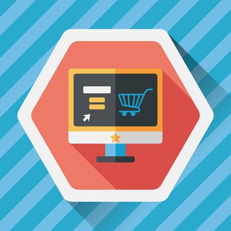 e pay: online shopping flat icon with long shadow,eps10